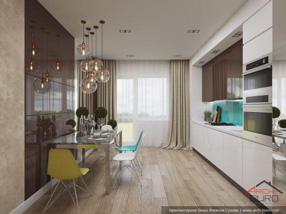 Проект интерьеров апартаментов в Геленджике. Дизайн кухни-столовой