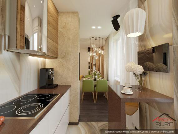 Дизайн 2-х уровневой квартиры в Одессе. Кухня
