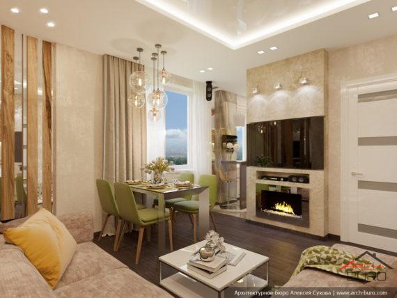 Дизайн 2-х уровневой квартиры в Одессе. Гостиная
