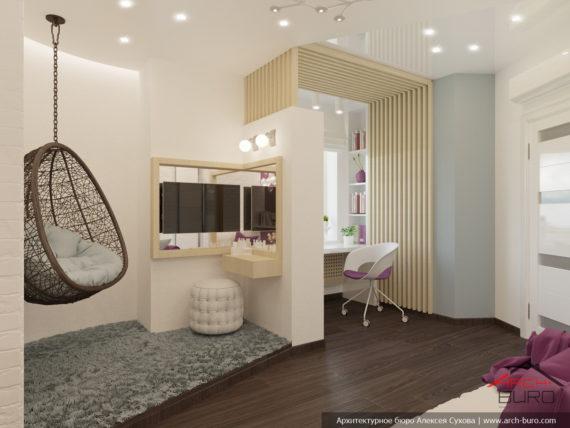 Дизайнерский интерьер спальни девочки, г. Одесса
