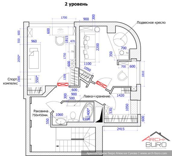 Планировка 2х уровневой квартиры в Одессе. 2-й этаж