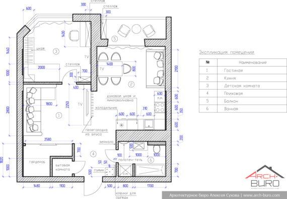 Планировка однокомнатной квартиры после перепланировки в двухкомнатную