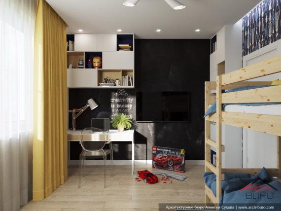 Проект перепланировки однокомнатной квартиры в двухкомнатную. Детская