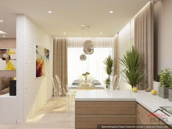 Кухня-столовая. Дизайн интерьера дома во Франции.