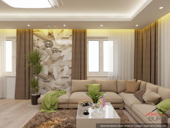Дизайн загородного коттеджа. Интерьер гостиной