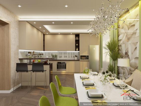 Дизайн загородного коттеджа. Интерьер кухни-столовой