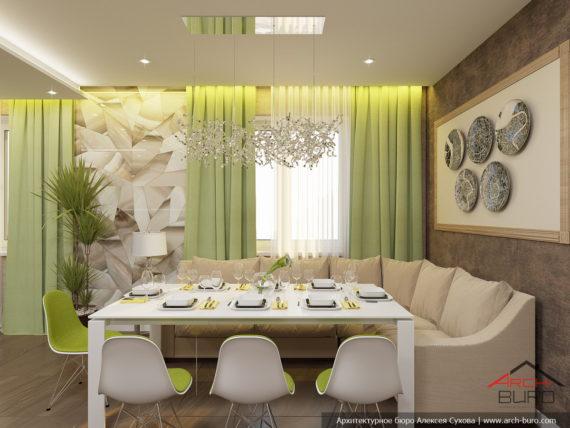 Дизайн загородного коттеджа. Интерьер столовой зоны