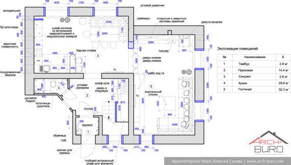 Дизайн загородного коттеджа. Планировочное решение 1-го этажа
