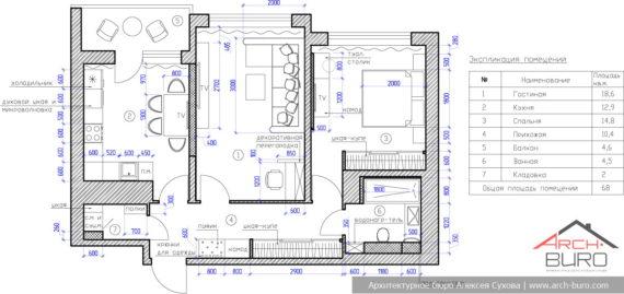 Дизайн квартиры СПБ. План с расстановкой мебели