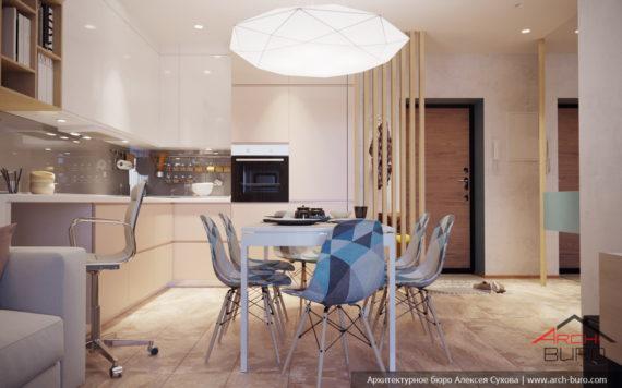 Дизайн интерьера квартиры в Уфе. Кухня-столовая
