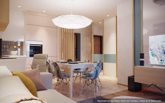 Дизайн интерьера квартиры в Уфе. Столовая