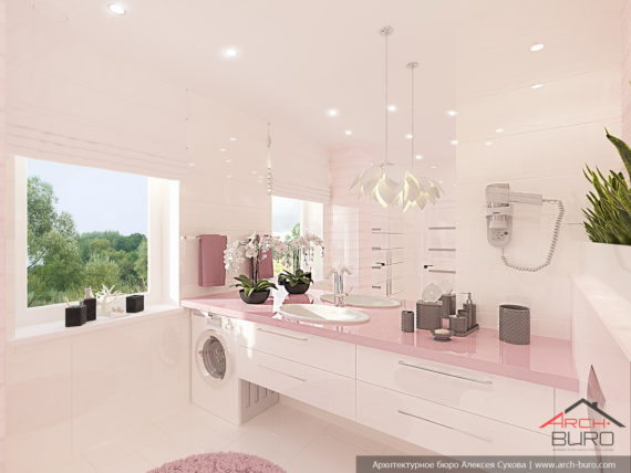 Загородный дом. Интерьер ванны родителей