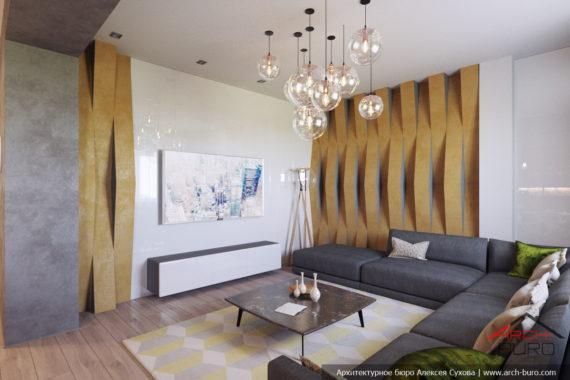Дизайн современной квартиры в Караганде. Зона гостиной