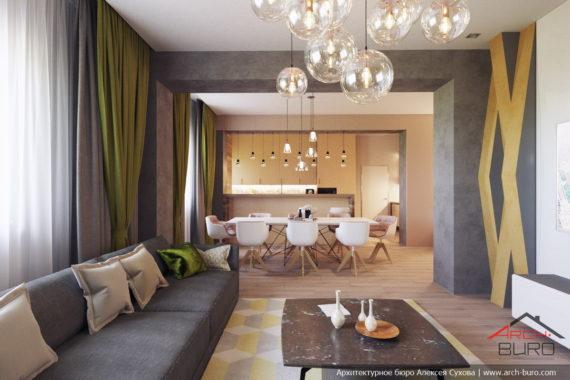Дизайн интерьера в Караганде. Гостиная-кухня-столовая