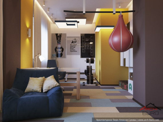 Дизайн спортивной комнаты (тренажерной)