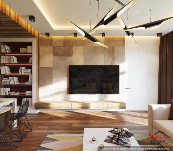 Квартира в Сочи. Дизайн-проект гостиной и кухни