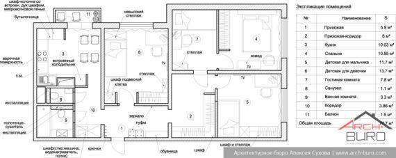Планировка 3 комнатной квартиры в Москве