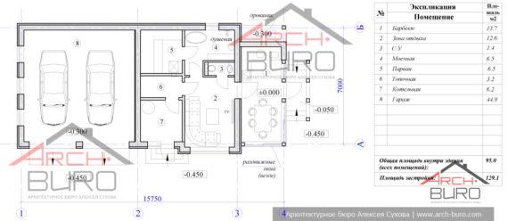 План баня из газосиликатных блоков с гаражом и барбекю