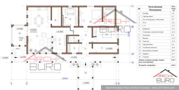 Планировка одноэтажного дома в Мурманске