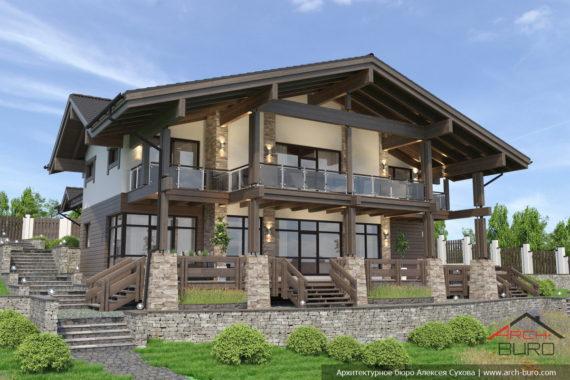 Проект дома на склоне в стиле Шале