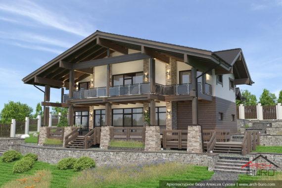 Проект дома на склоне с панорамным остеклением