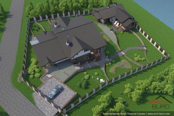 Проект дома на склоне с террасой