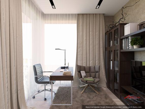 Загородный интерьер коттеджа. Дизайн кабинета