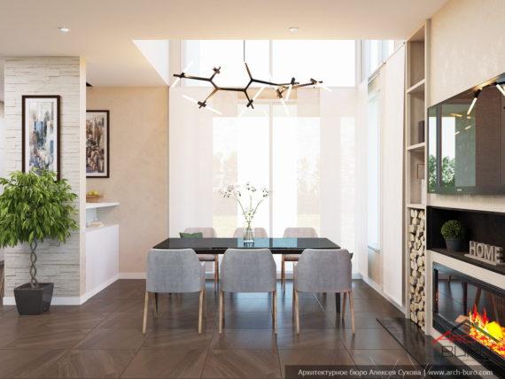 Загородный интерьер коттеджа. Дизайн кухни