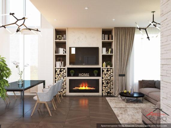 Загородный дом. Дизайн гостиной