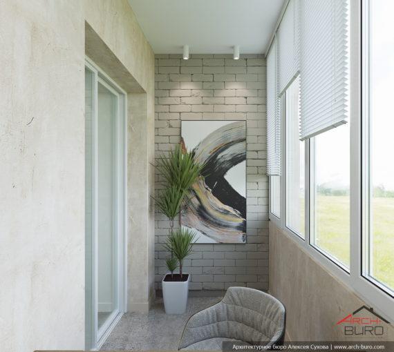 Декоративная штукатурка в строгом интерьере лоджии-балкона
