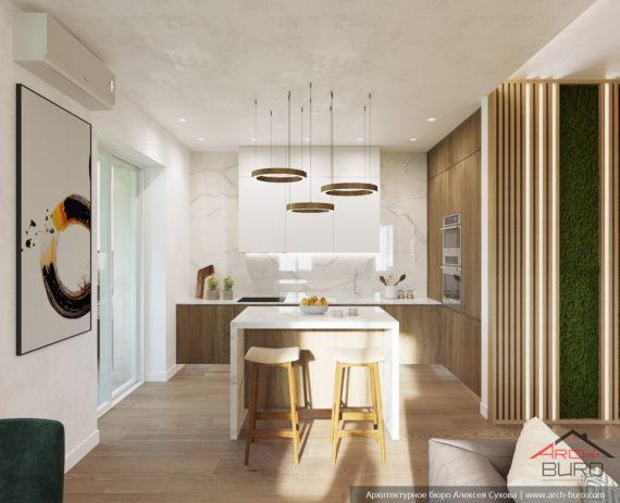 Строгий интерьер квартиры в Тагиле. Кухня