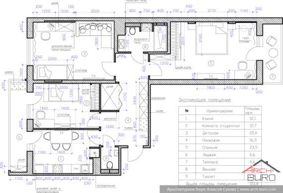 Идеи современного дизайна. Планировка 3-х комнатной квартиры