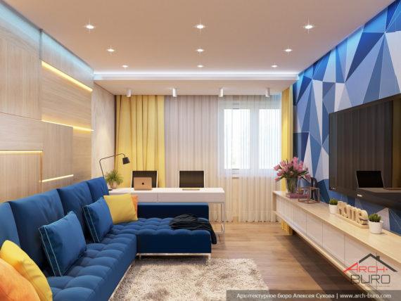 Яркий дизайн квартиры. Интерьер гостиной