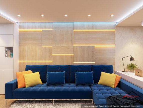 Яркий дизайн квартиры. Диванная группа