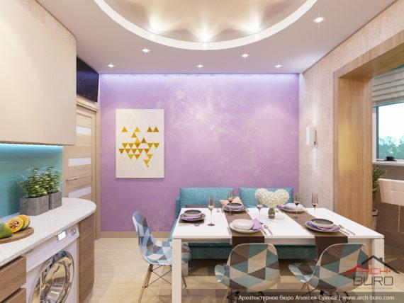 Яркий дизайн квартиры. Дизайн кухни-столовой