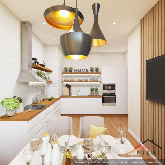 Белые интерьеры квартиры. Дизайн кухни
