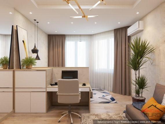 Дизайн 1 комнатной квартиры. Гостиная-спальня