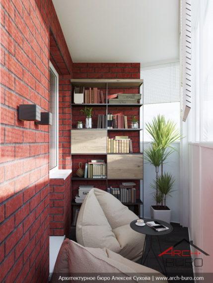 Дизайн квартиры в Москве. Тёплая лоджия у комнаты сына