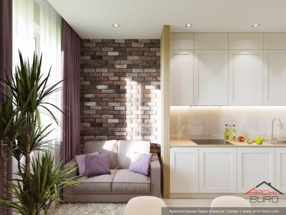 Дизайн квартиры в Москве. Гостиная-кухня