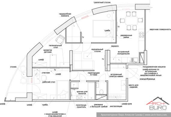 Перепланировка квартиры в Реутове. План с расстановкой мебели