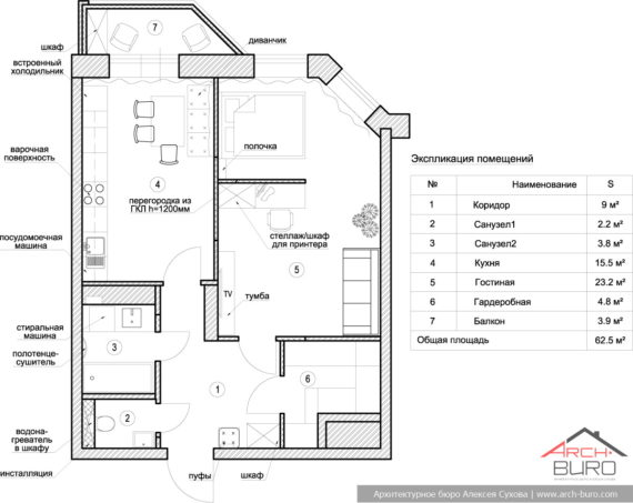 Перепланировка 1-комнатной квартиры. Г.Реутов