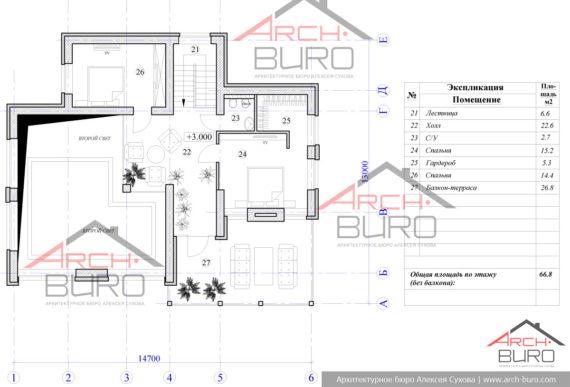 План мансарды бани со спальнями, бассейном и террасой с барбекю