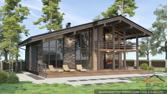 Проект двухэтажной бани с бассейном, спальнями и барбекю