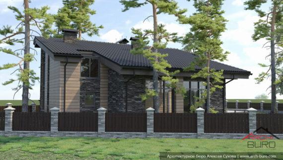 Дом-баня, проект с бассейном, спальнями, барбекю и зоной отдыха