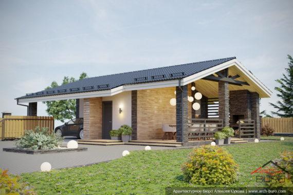 Проект гаража с террасой барбекю