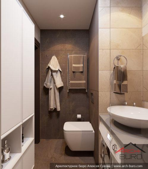 1-комнатная квартира-студия в Москве. Дизайн ванной комнаты