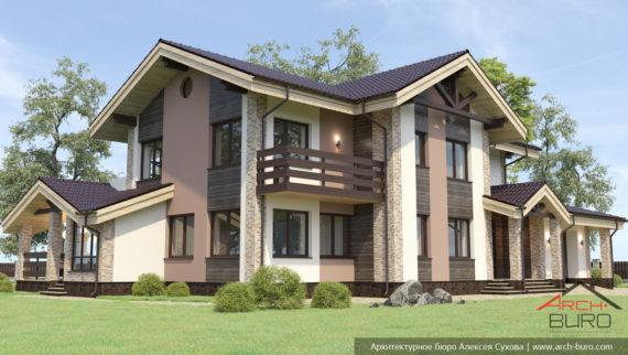 Проект 2 этажного дома с гаражом и террасой в г. Пермь