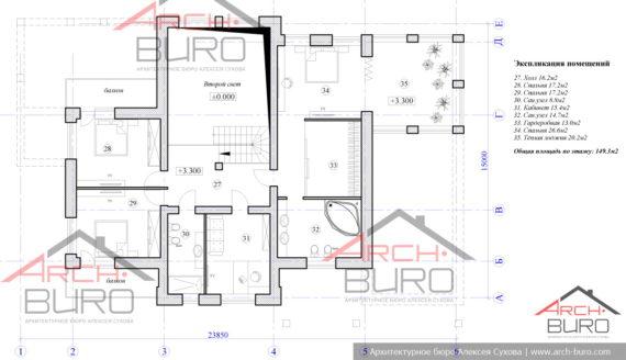 Планировка 2-го этажа в доме с гаражом