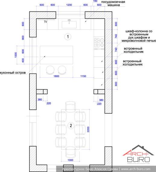 Планировка кухни-столовой в коттедже