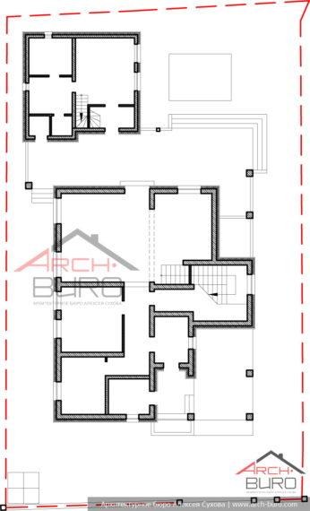Генплан участка с домом и баней. г. Южно-Сахалинск. Первый этаж